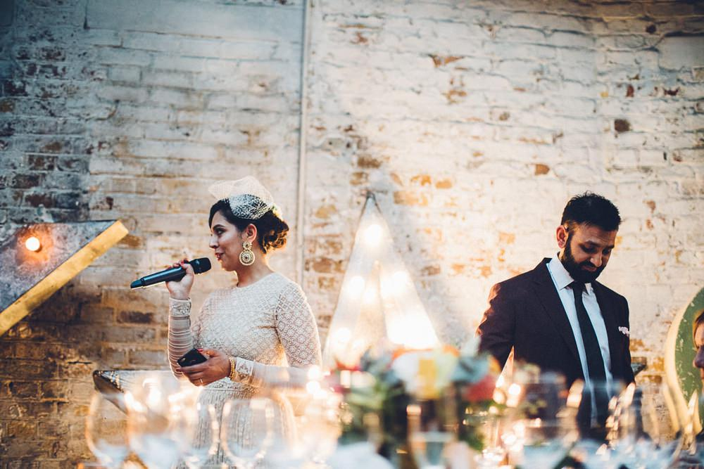 Bride Bridal Ivory Gold Indian Dress Embellished Long Sleeved Birdcage Veil Burberry Ox Blood Burgundy Suit Groom Joint Speech MC Motors Wedding LoveStruck Photography