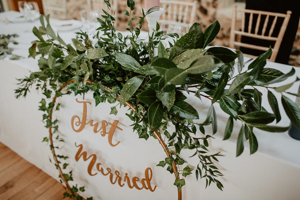 Top Table Flowers Greenery Foliage Hoop Just Married Sign Norwich Cathedral Wedding Camilla Andrea Photography