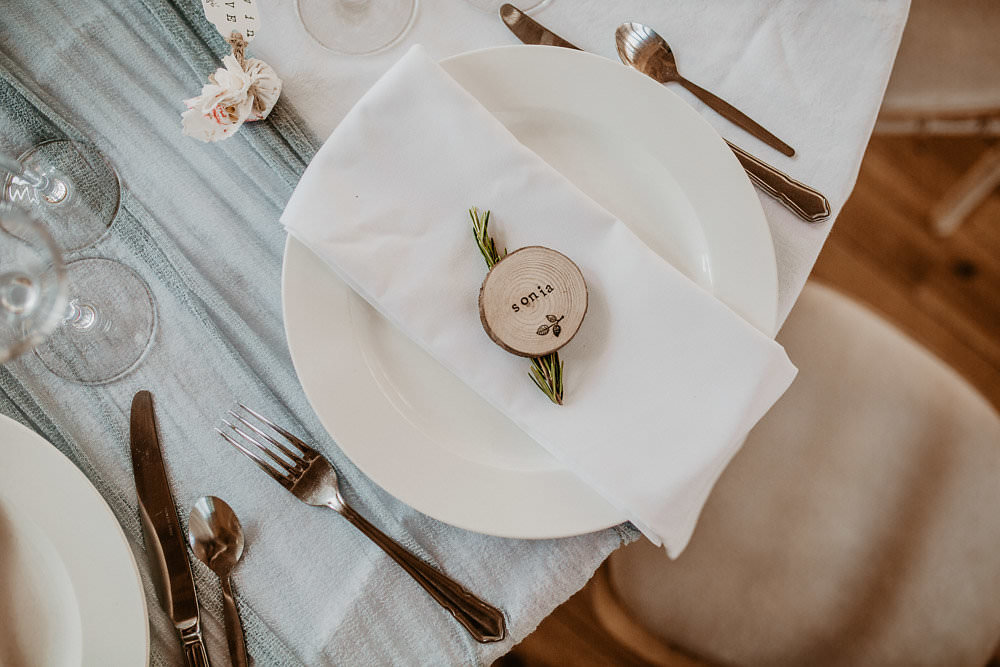 Place Name Setting Log Slice Norwich Cathedral Wedding Camilla Andrea Photography