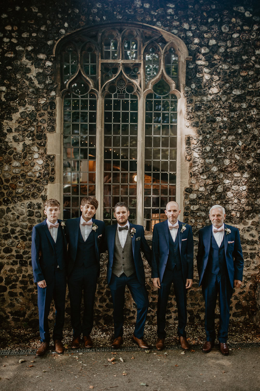 Groom Groomsmen Suits Navy Blue Grey Tweed Waistcoat Bow Tie Norwich Cathedral Wedding Camilla Andrea Photography