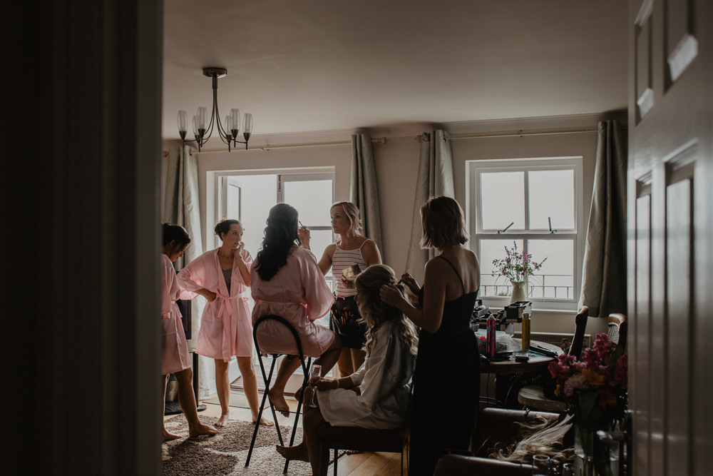 Osborne House Isle of Wight Natural Classic Bride Morning Prep Bridesmaids Pink Robes | Timeless Royal Inspired Seaside Wedding Holly Cade Photography