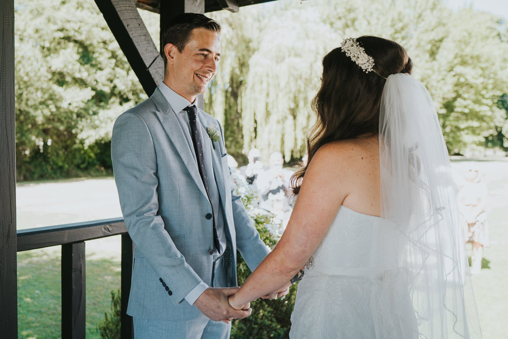 Intimate Outdoor Natural Relaxed Laid Back Summer Gazebo Ceremony Aisle Groom Bride Gypsophila Crown | Prested Hall Wedding Grace Elizabeth Photography