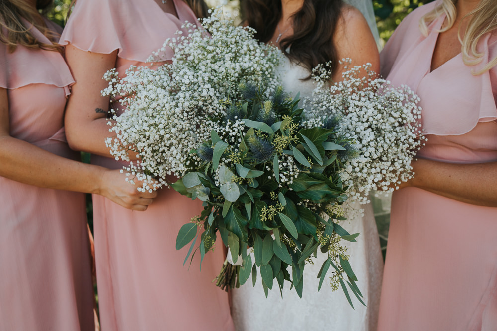 Intimate Outdoor Natural Relaxed Laid Back Summer Bride Bridesmaids Gypsophila Bouquet Foliage | Prested Hall Wedding Grace Elizabeth Photography