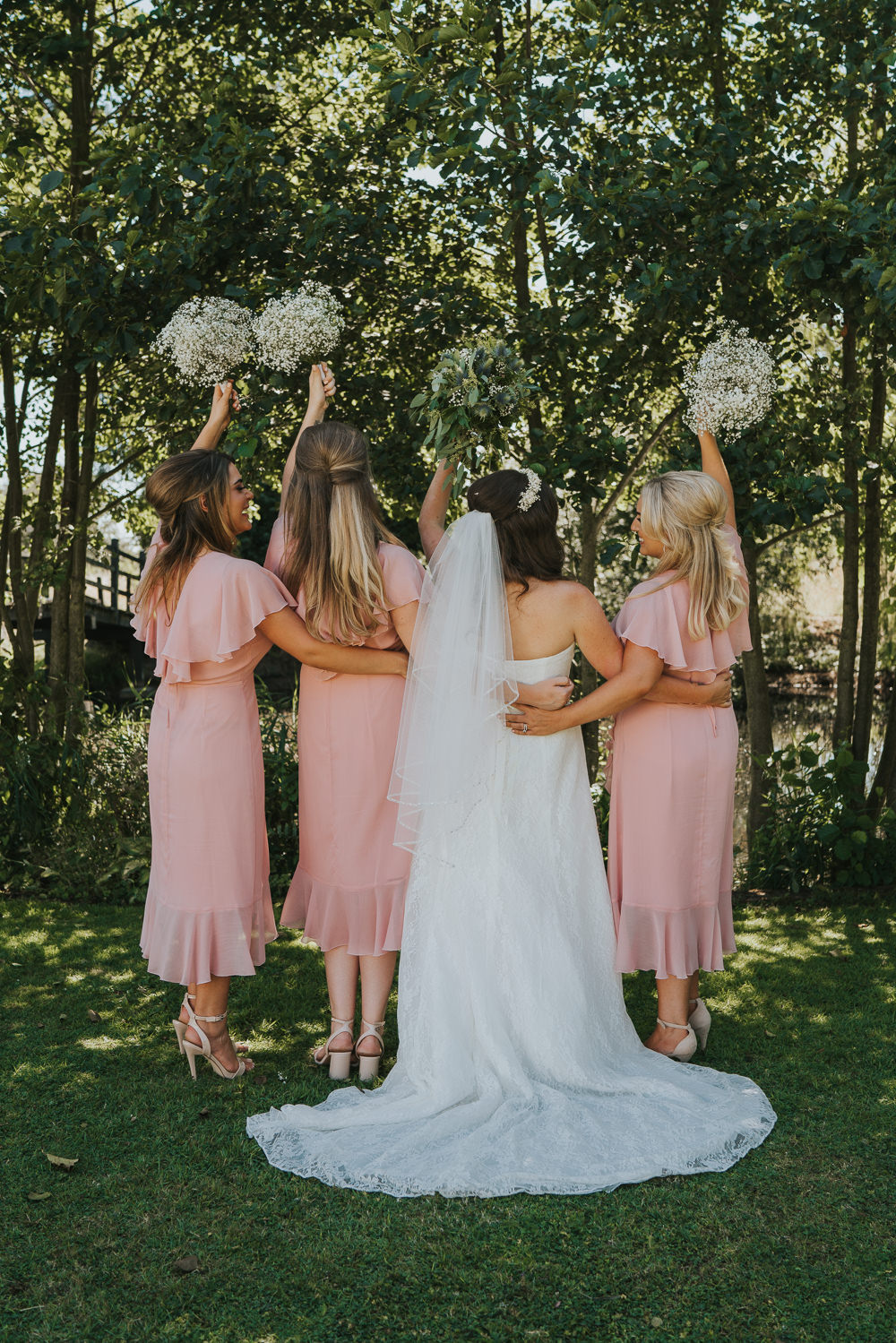 Outdoor Natural Relaxed Laid Back Summer Blush Pink Dresses Gypsophila Baby's Breath White Bouquet | Prested Hall Wedding Grace Elizabeth Photography