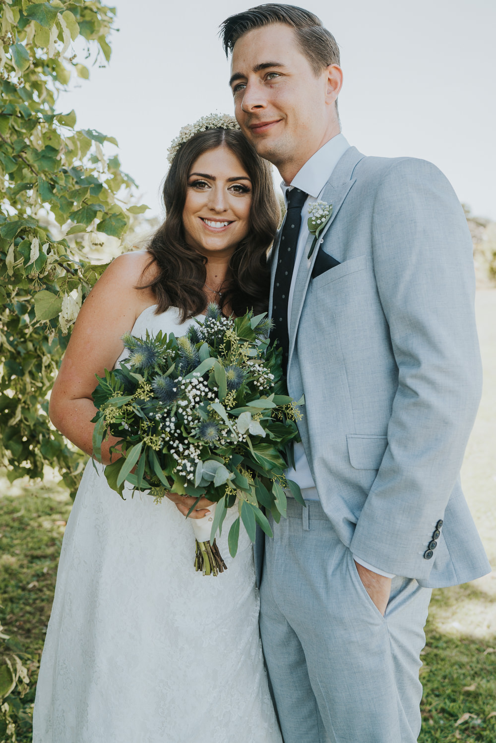 Intimate Outdoor Natural Relaxed Laid Back Summer Bride Groom Greenery Foliage Bouquet | Prested Hall Wedding Grace Elizabeth Photography