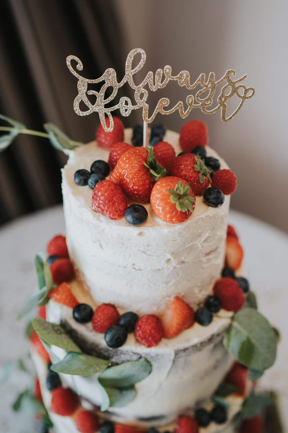 Intimate Outdoor Natural Relaxed Laid Back Summer Reception Seminaked Fruit Strawberries Cake Topper | Prested Hall Wedding Grace Elizabeth Photography