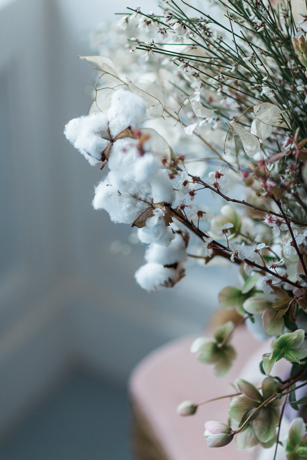 Modern Dance Ballet Inspired Fine Art Editorial Somerley House Wild Bridal Bouquet Cherry Blossoms Cotton Flowers Lunaria | Romantic Soft Wedding Ideas Siobhan H Photography