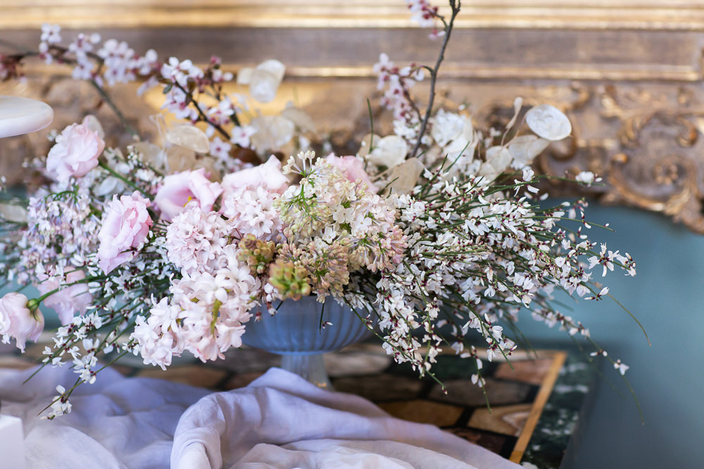 Modern Dance Ballet Inspired Fine Art Editorial Somerley House Cake Table Cherry Blossom Floral Arrangement | Romantic Soft Wedding Ideas Siobhan H Photography