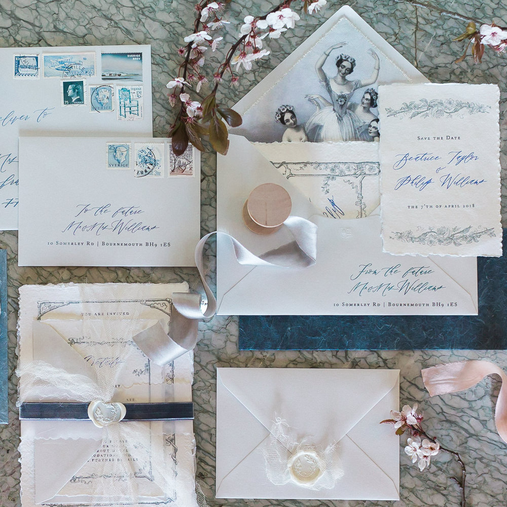 Modern Wabi Sabi Ballet Dance Inspired Editorial Fine Art Stationery Dusty Blue Cherry Blossoms | Romantic Soft Wedding Ideas Siobhan H Photography