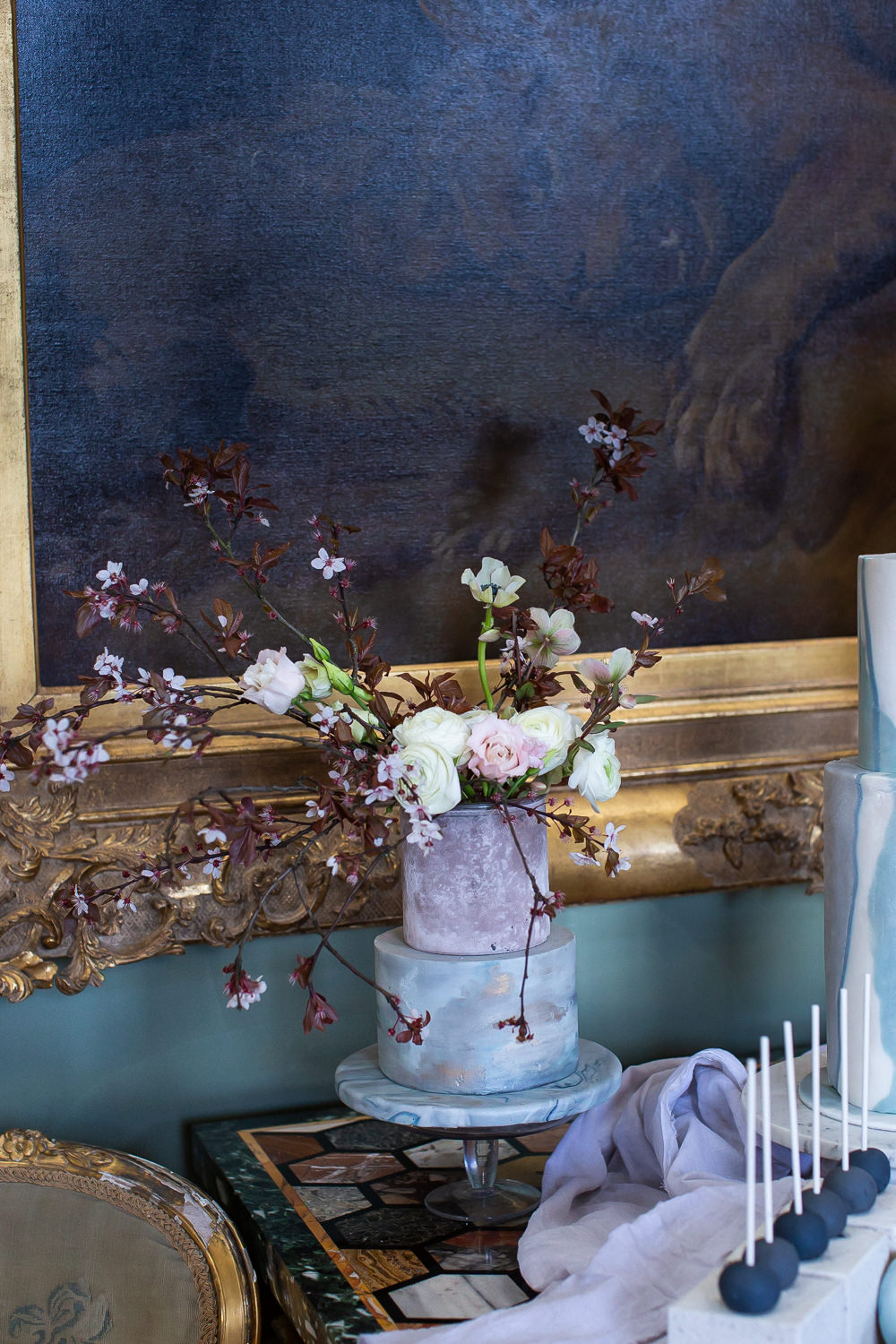 Modern Dance Ballet Inspired Fine Art Editorial Somerley House Cakes Dessert Table Kate Burt Cherry Blossoms Floral Arrangement | Romantic Soft Wedding Ideas Siobhan H Photography