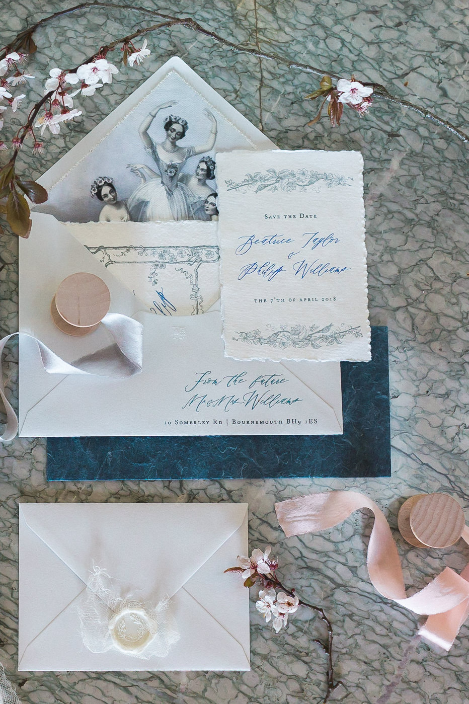 Modern Dance Ballet Dance Inspired Editorial Fine Art Stationery Dusty Blue Cherry Blossoms White Wax Seal Marble | Romantic Soft Wedding Ideas Siobhan H Photography