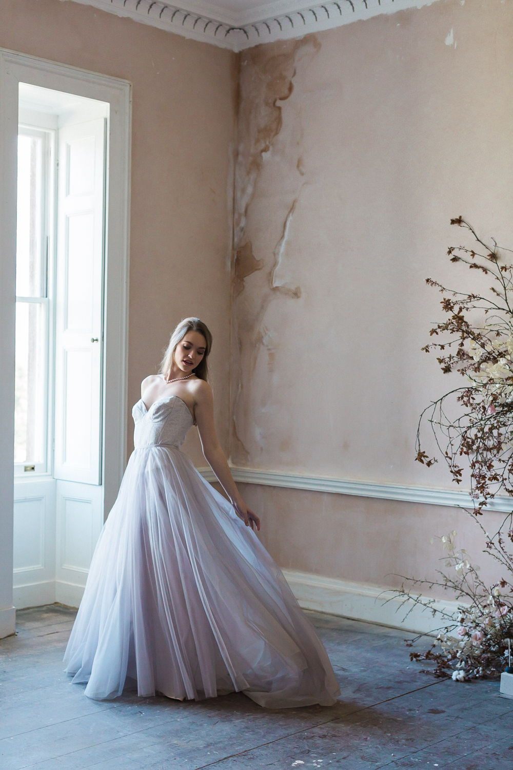 Modern Dance Ballet Inspired Editorial Fine Art Somerley House Dusty Pink Walls Bride Lilac Dress Naomi Neoh Cherry Blossoms Lunaria | Romantic Soft Wedding Ideas Siobhan H Photography