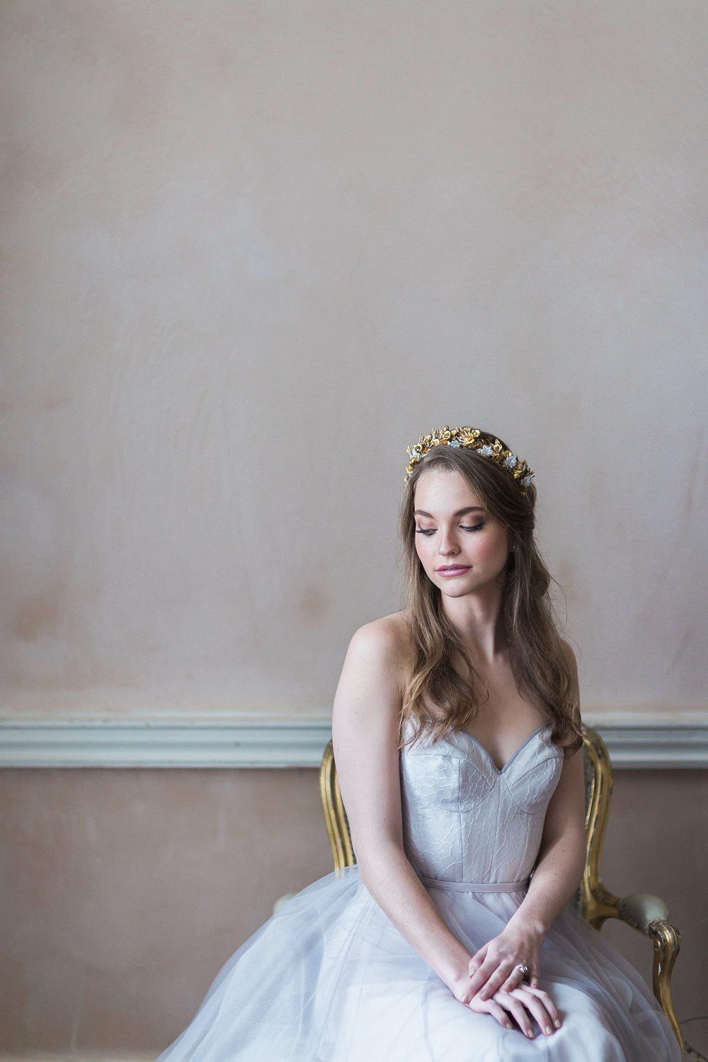 Modern Ballet Inspired Editorial Fine Art Somerley House Bride Lilac Dress Naomi Neoh Samantha Walden Gold Floral Headpiece Tiara | Romantic Soft Wedding Ideas Siobhan H Photography