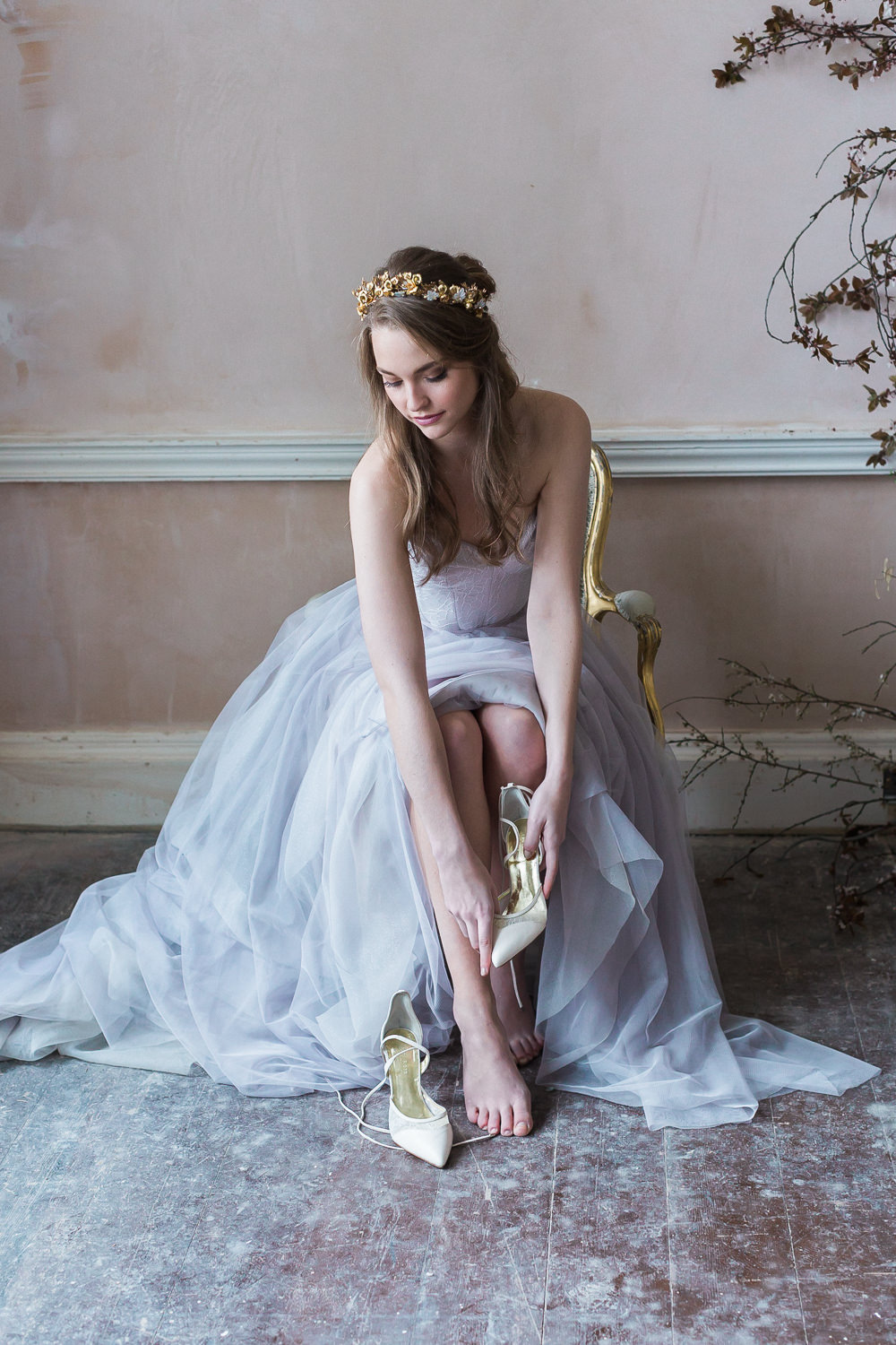 Modern Ballet Inspired Editorial Fine Art Somerley House Bride Lilac Dress Naomi Neoh Samantha Walden Gold Floral Headpiece Tiara Freya Rose Shoes | Romantic Soft Wedding Ideas Siobhan H Photography