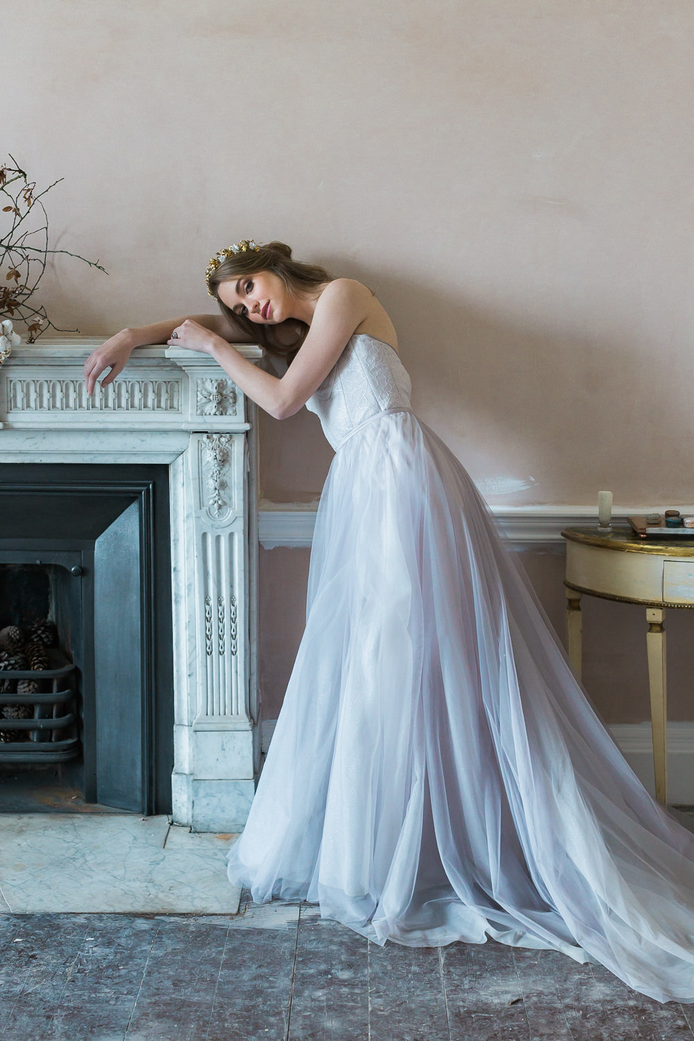 Modern Wabi Sabi Ballet Dance Inspired Editorial Lilac Dress Somerley House Mantelpiece | Romantic Soft Wedding Ideas Siobhan H Photography