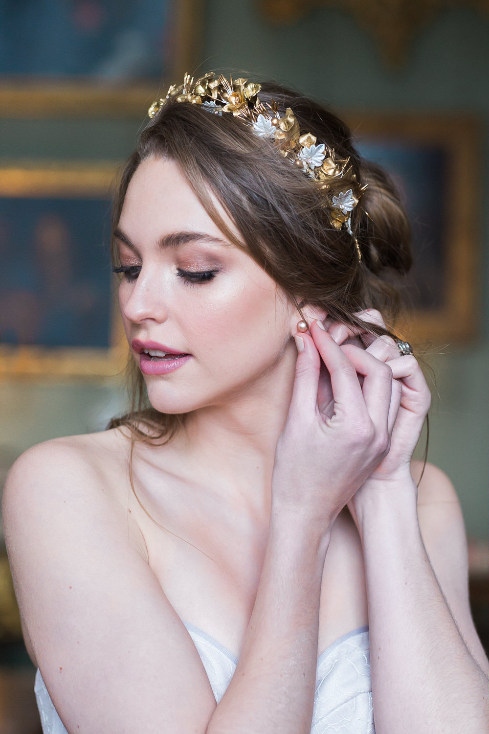 Modern Ballet Inspired Editorial Fine Art Somerley House Bride Lilac Dress Naomi Neoh Samantha Walden Gold Floral Headpiece Tiara Pearls | Romantic Soft Wedding Ideas Siobhan H Photography