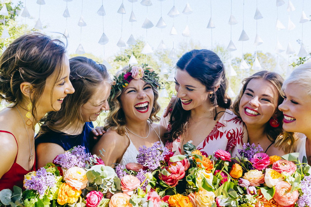 Flowers Bouquet Bridal Colourful Rose Peony Peonies Foliage Bridesmaids Rue De Seine Wedding Dress Bride Curious Rose Photography