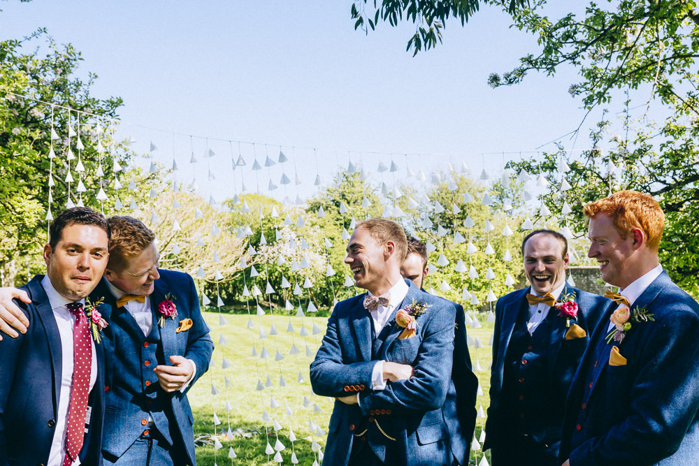Groom Groomsmen Blue Suits Bow Ties Rue De Seine Wedding Dress Bride Curious Rose Photography