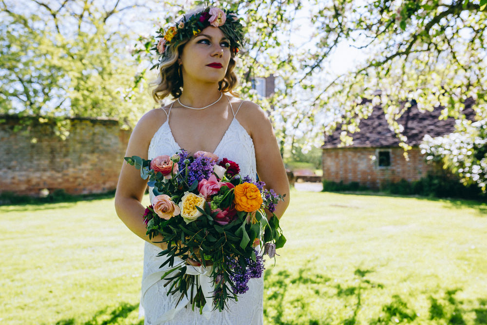 Flowers Bouquet Bridal Colourful Rose Peony Peonies Foliage Rue De Seine Wedding Dress Bride Curious Rose Photography