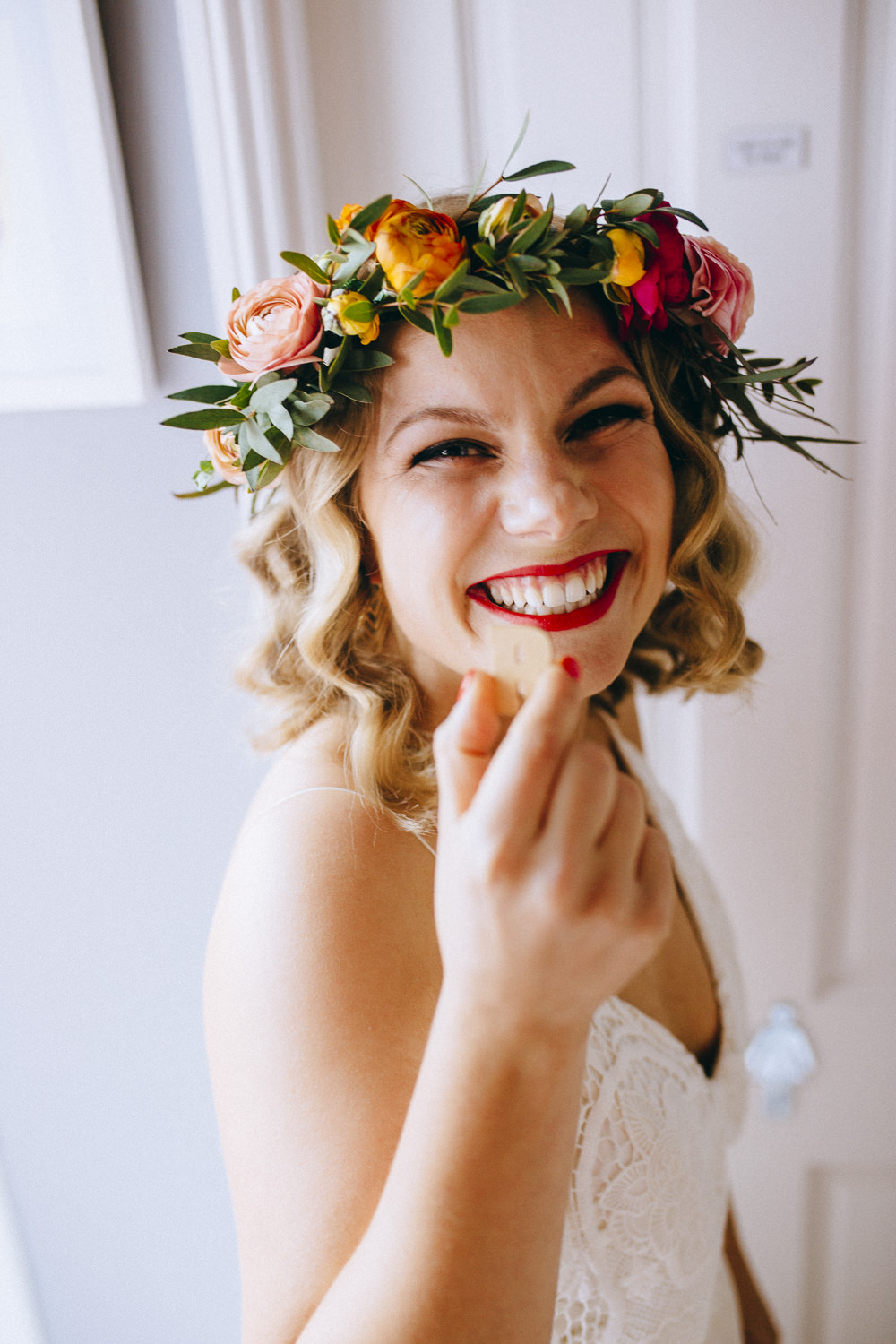 Ranunculus Greenery Flower Crown Bridal Make Up Red Lipstick Rue De Seine Wedding Dress Bride Curious Rose Photography