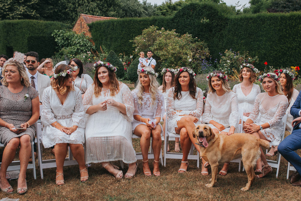 Bridesmaids White Dresses Mismatched Flower Crowns Summer Boho Outdoor Wedding A Little Picture