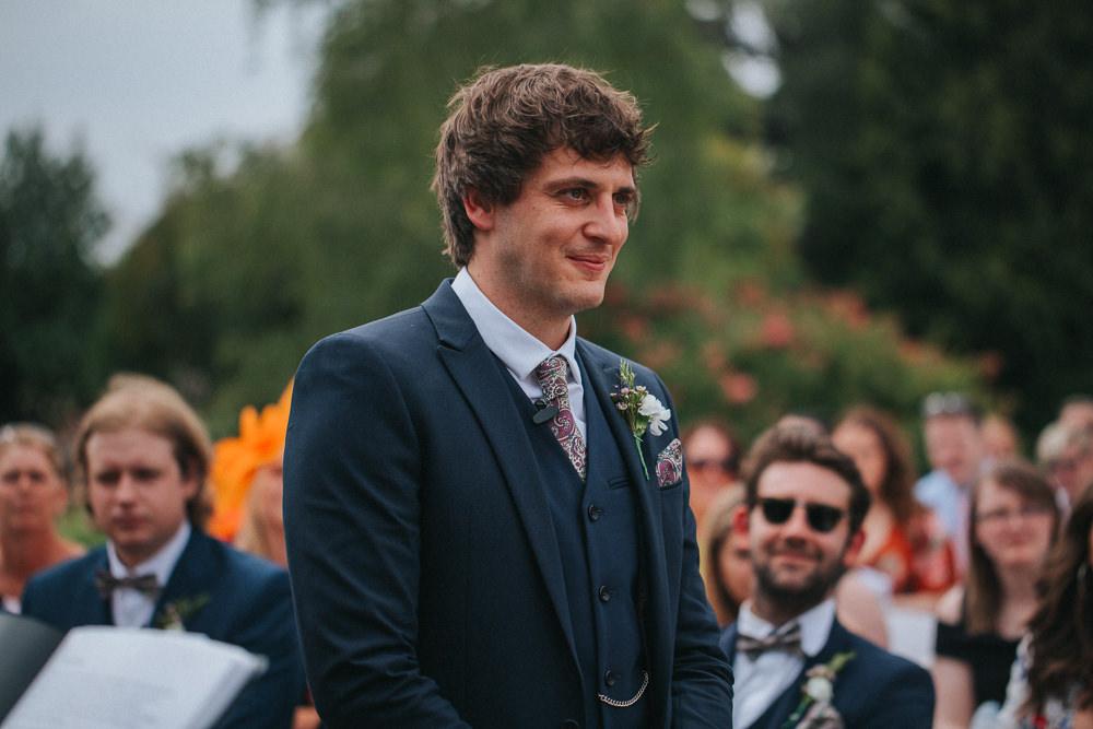 Groom Groomsmen Navy Suits Bow Ties Summer Boho Outdoor Wedding A Little Picture