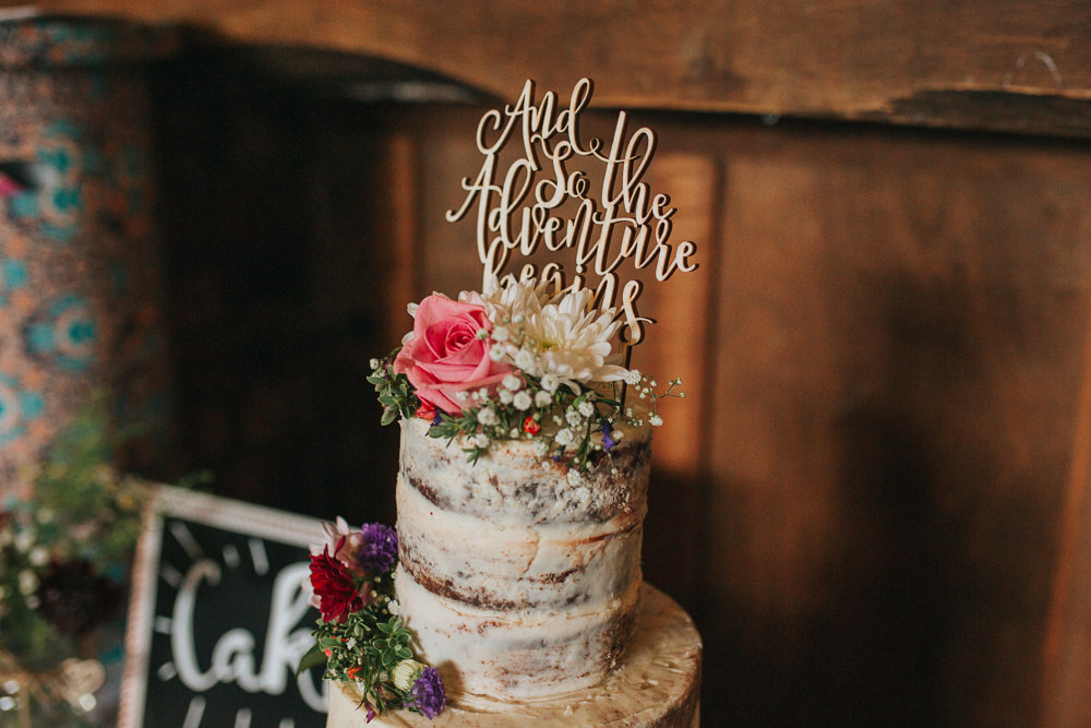 Semi Naked Cake Log Stand Topper Summer Boho Outdoor Wedding A Little Picture