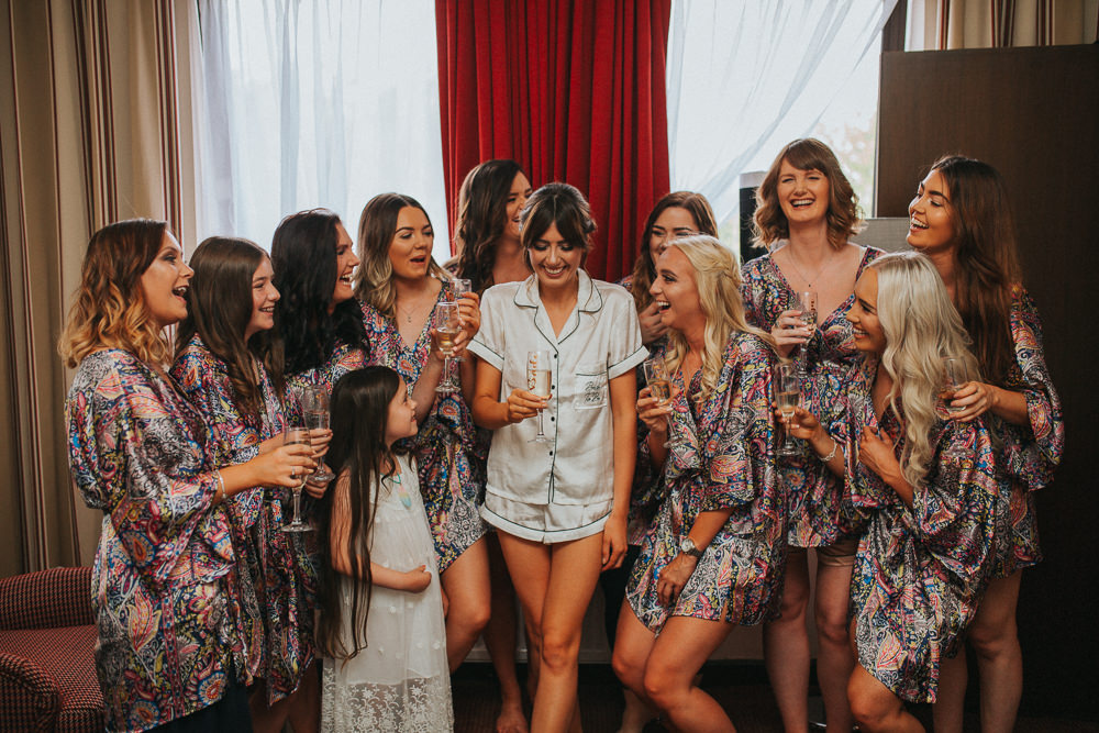 Bridesmaids Bride Bridal Dressing Gowns Robes Floral PJs Summer Boho Outdoor Wedding A Little Picture