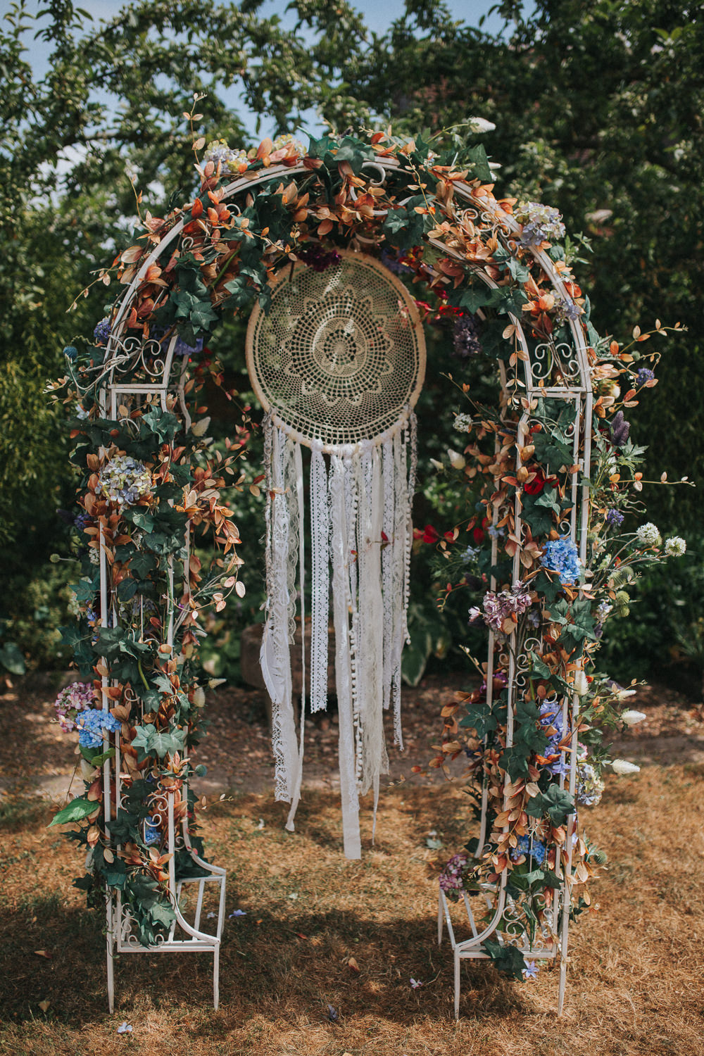Flower Metal Arch Floral Dream Catcher Backdrop Ceremony Summer Boho Outdoor Wedding A Little Picture