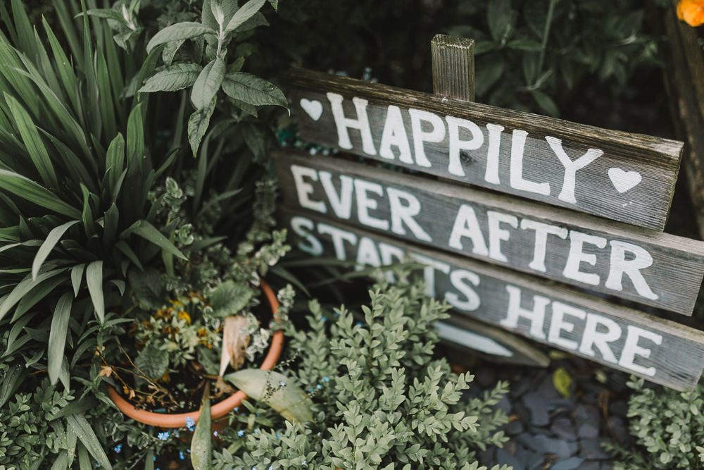 Happily Ever After Wooden Sign Wellbeing Farm Wedding Anna Wood Photography
