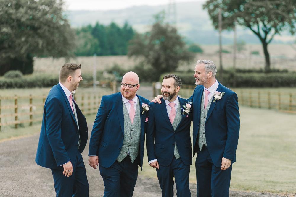 Groom Groomsmen Suits Navy Pink Ties Grey Waistcoats Wellbeing Farm Wedding Anna Wood Photography
