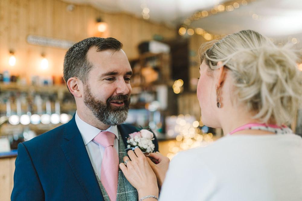 Groom Suits Navy Pink Ties Grey Waistcoats Wellbeing Farm Wedding Anna Wood Photography
