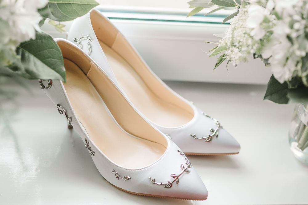 Bride Bridal Shoes Embellished Wellbeing Farm Wedding Anna Wood Photography