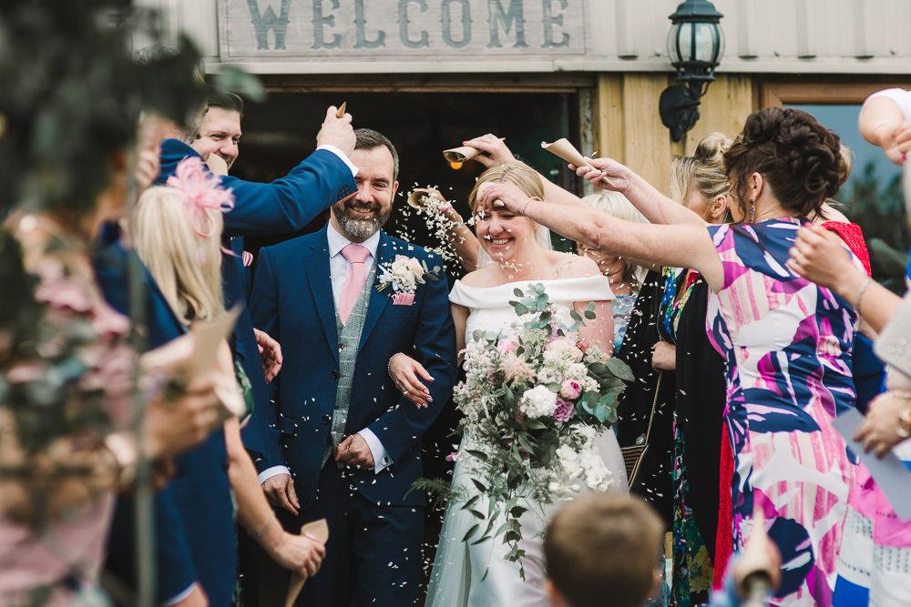 Confetti Throw Wellbeing Farm Wedding Anna Wood Photography