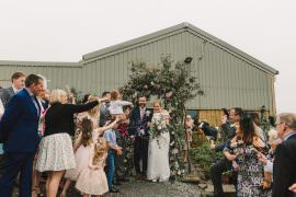 Flower Arch Floral Greenery Backdrop Wellbeing Farm Wedding Anna Wood Photography