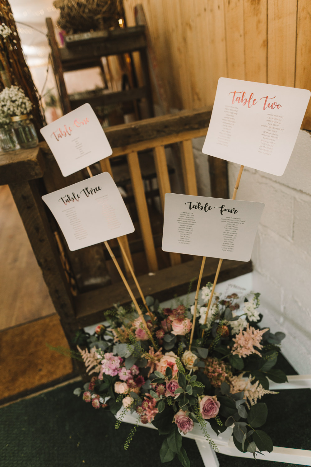 Seating Plan Table Chart Sticks Flowers Wellbeing Farm Wedding Anna Wood Photography