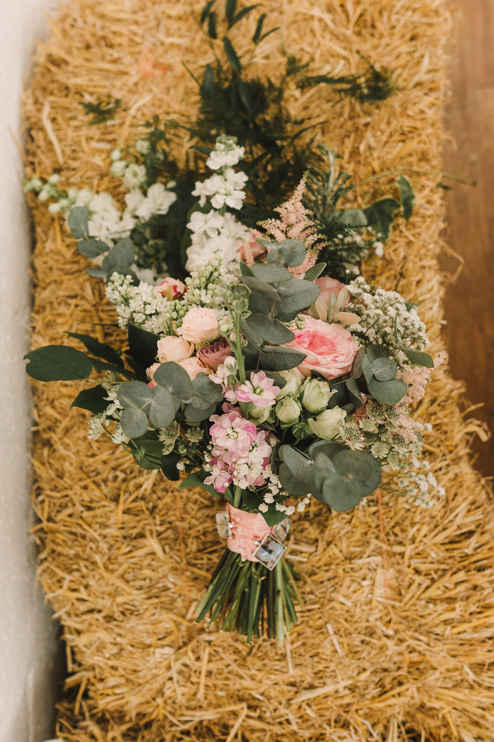 Bouquet Flowers Bride Bridal Pink Greenery Astilbe Rose Wellbeing Farm Wedding Anna Wood Photography