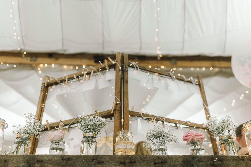 Jar Flowers Wellbeing Farm Wedding Anna Wood Photography