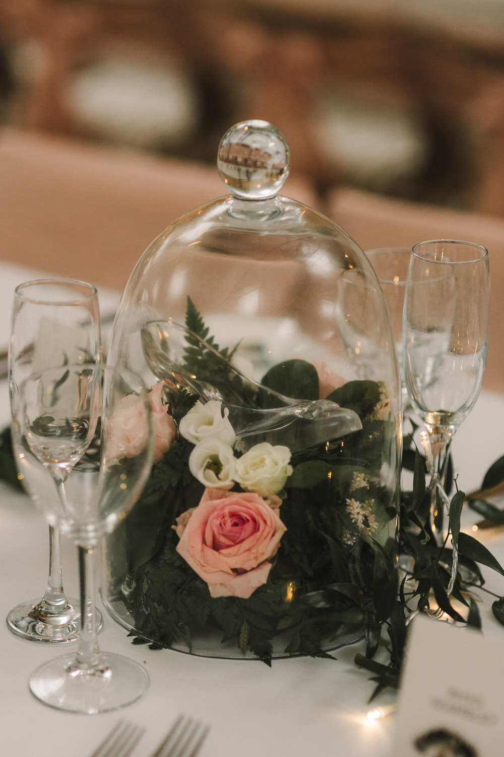 Bell Jar Flowers Table Decor Centrepiece Wellbeing Farm Wedding Anna Wood Photography