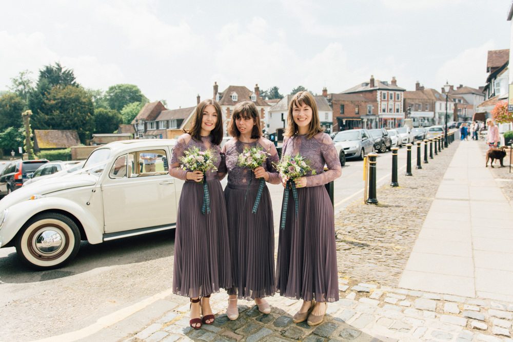 Dusky Lavender Midi Lace Long Sleeve Bridesmaids Westerham Golf Club Wedding Sarah Fleet Photography