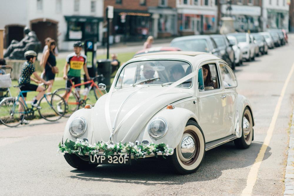 Wedding Beetle Car Floral Garland VW Westerham Golf Club Wedding Sarah Fleet Photography