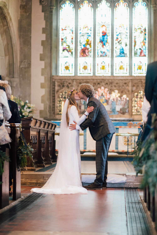 Bride Bridal Bespoke 1970s Medieval Lace Dress Gown Flower Crown Veil Check Suit Groom Westerham Golf Club Wedding Sarah Fleet Photography