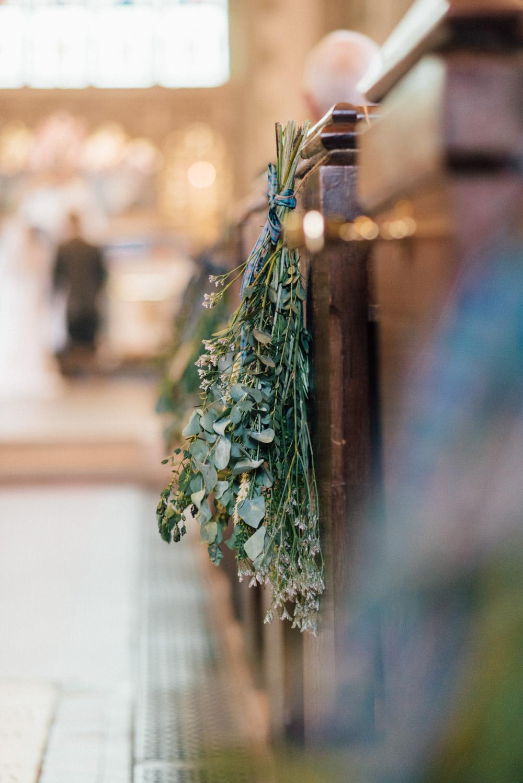 Foliage Eucalyptus Spray Pew End Westerham Golf Club Wedding Sarah Fleet Photography