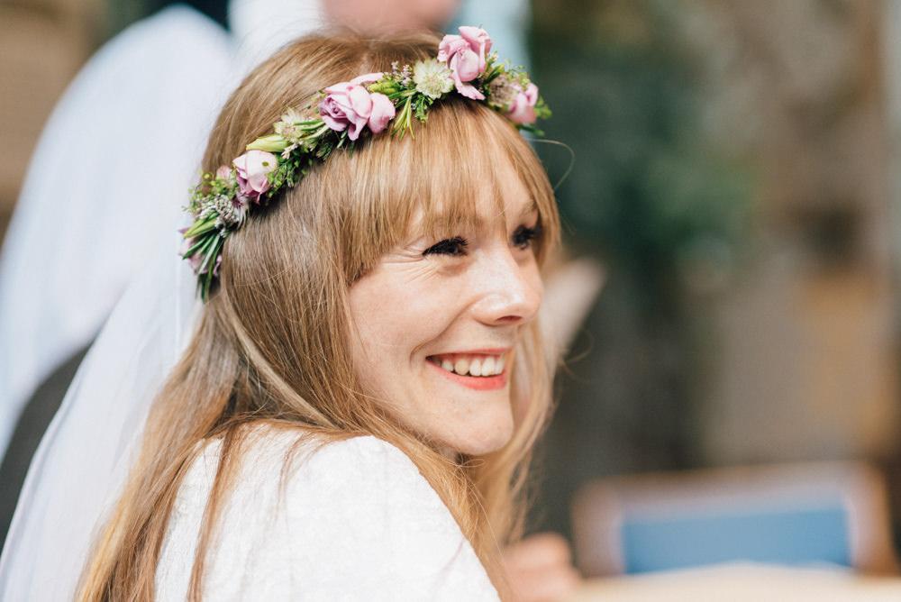 Bride Bridal Flower Crown Rose Pink 1970s Westerham Golf Club Wedding Sarah Fleet Photography
