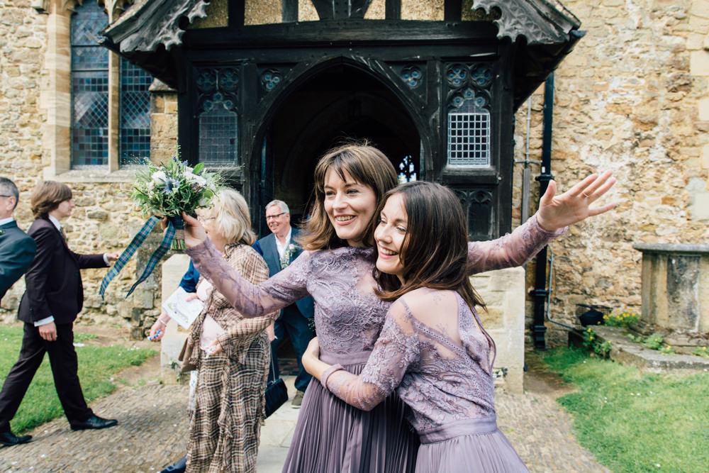 Dusky Purple Lavender Bridesmaids Dresses Lace Long Sleeve Westerham Golf Club Wedding Sarah Fleet Photography