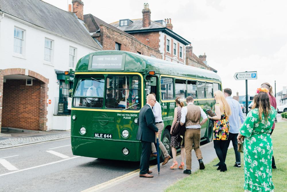 Vintage Bus Wedding Transport 1950s Westerham Golf Club Wedding Sarah Fleet Photography