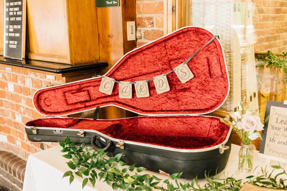 Cards Guitar Case Bunting Foliage Westerham Golf Club Wedding Sarah Fleet Photography