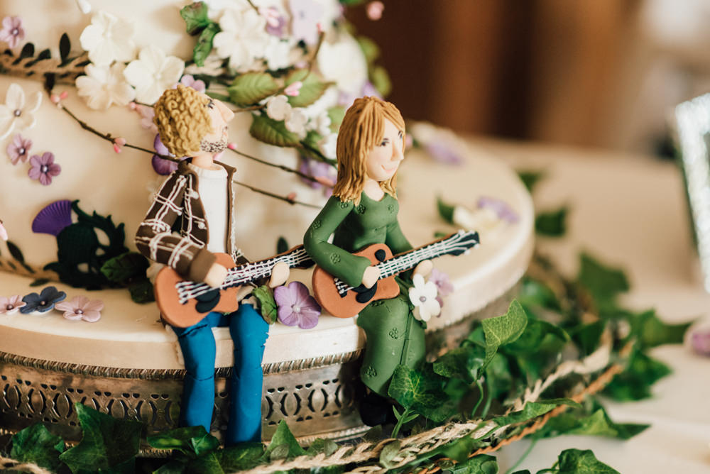 Cake Figures 70s Hippy Floral Flowers Westerham Golf Club Wedding Sarah Fleet Photography