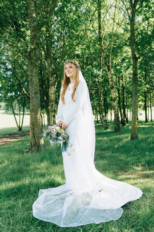 Bride Bridal Bespoke 1970s Medieval Lace Dress Gown Flower Crown Veil Wildflower Bouquet Westerham Golf Club Wedding Sarah Fleet Photography