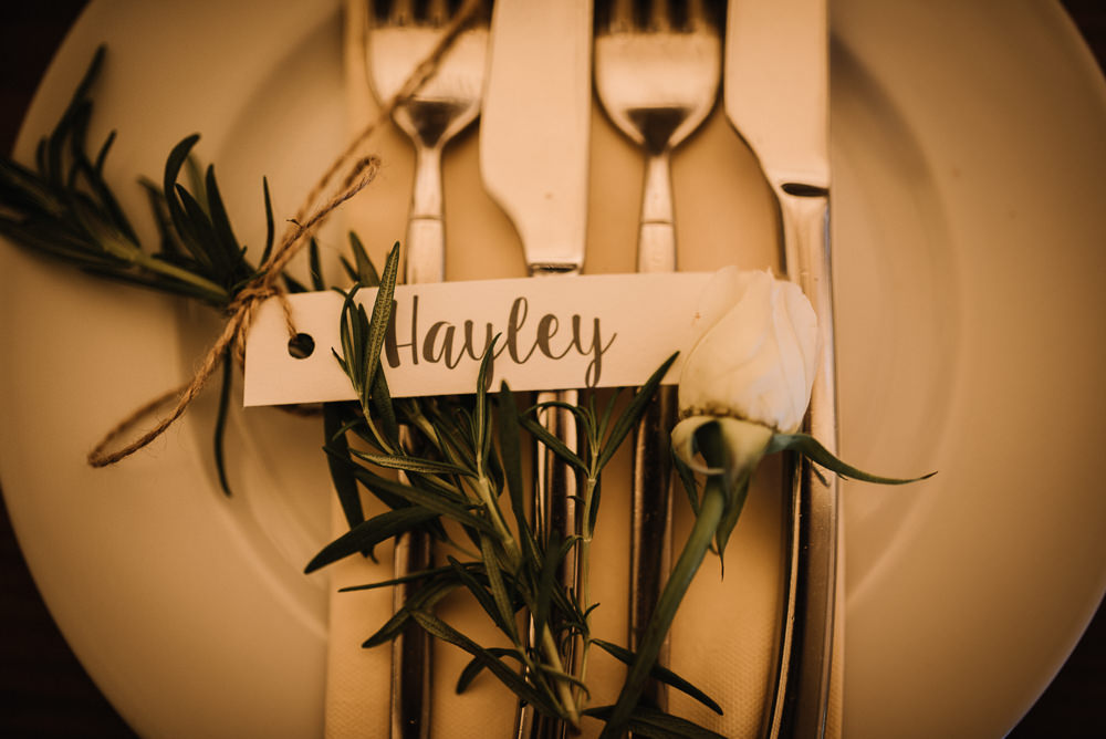 Place Setting Decor Rosemary Place Name Alcott Weddings Oobaloos Photography